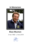 In memoriam Klaas Musman